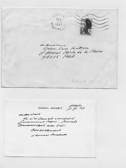 An envelope and postcard inscribed by Samuel Beckett
