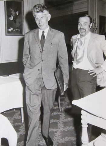 Samuel Beckett in Paris with Albert Latner, one of the key Canadian backers of the project