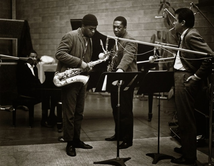 Left to right: McCoy Tyner, Archie Shepp, John Coltrane and Bob Thiele, 10 December 1964. Photograph: Chuck Stewart