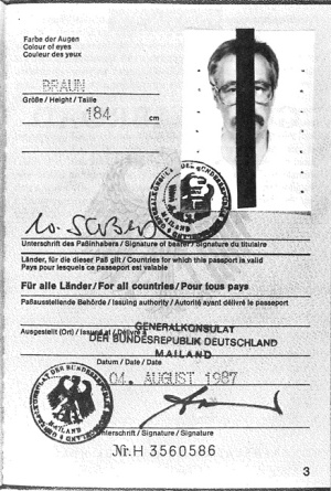 W. G. Sebald's passport.