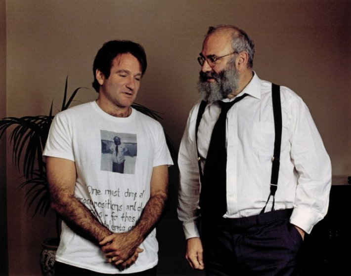 Robin Williams and Oliver Sacks. Williams played a character based on Sacks in the 1990 film, Awakenings