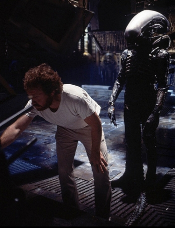 Ridley Scott on set with Bolaji Badejo as Alien.