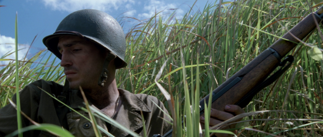 Jim Caviezel as Witt in Terrence Malick's The Thin Red Line (1999)