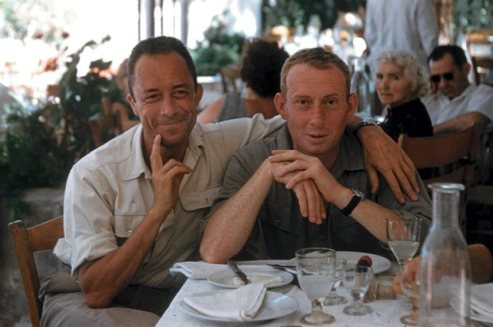 Albert Camus and his publisher, Michel Gallimard, Greece, 1958.