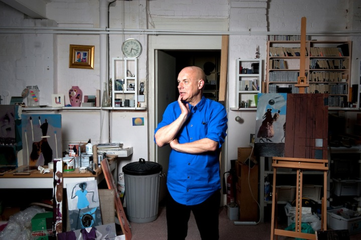 Musician and composer, Brian Eno, in his Notting Hill studio in West London, UK.