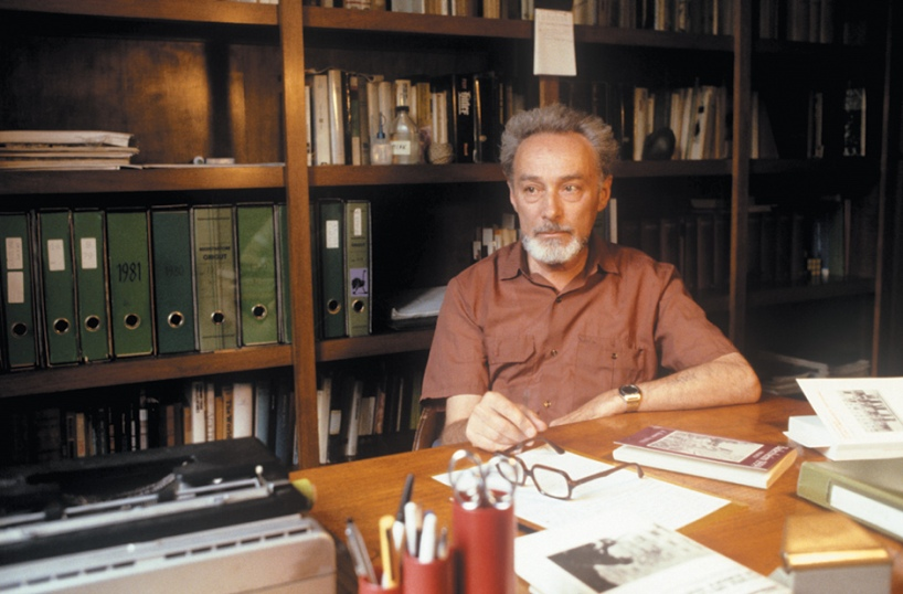 Primo Levi in his studio, Turin, 1981.