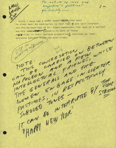 Note written by Stanley Kubrick