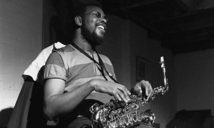 Ornette Coleman with his saxophone during a rehearsal for The Empty Foxhole, September 1966. Photograph: Francis Wolff.