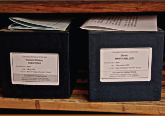 The cremated remains of Richard Chopping and Denis Wirth-Miller located in the Storehouse. Image: Jon Lys Turner.
