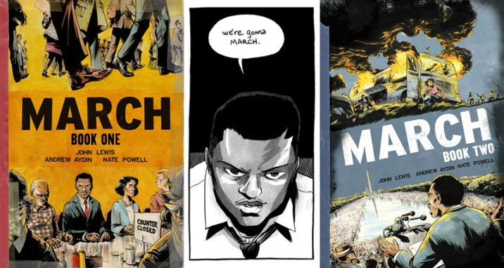 Books One and Two of the March series, by American civil rights leader John Lewis