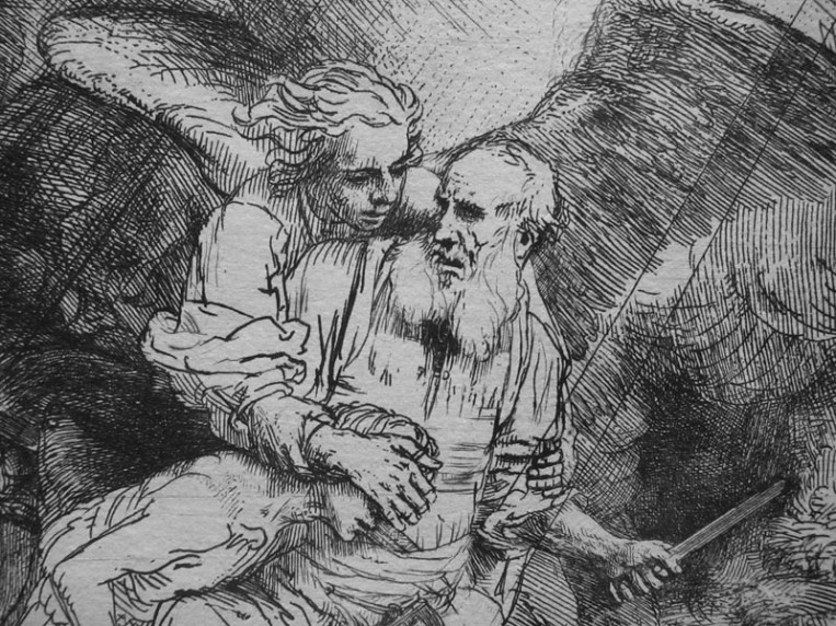 Detail from Abraham's Sacrifice (1655), an etching and drypoint by Rembrandt. National Gallery of Art, Washington.
