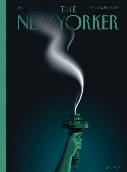 The Statue of Liberty's extinguished flame on the cover of The New Yorker, 13 and 20 February 2017.