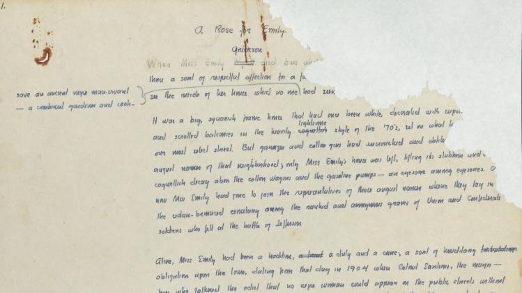 Early handwritten manuscript for William Faulkner 'A Rose for Emily'