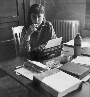 Carson McCullers at her writing desk.