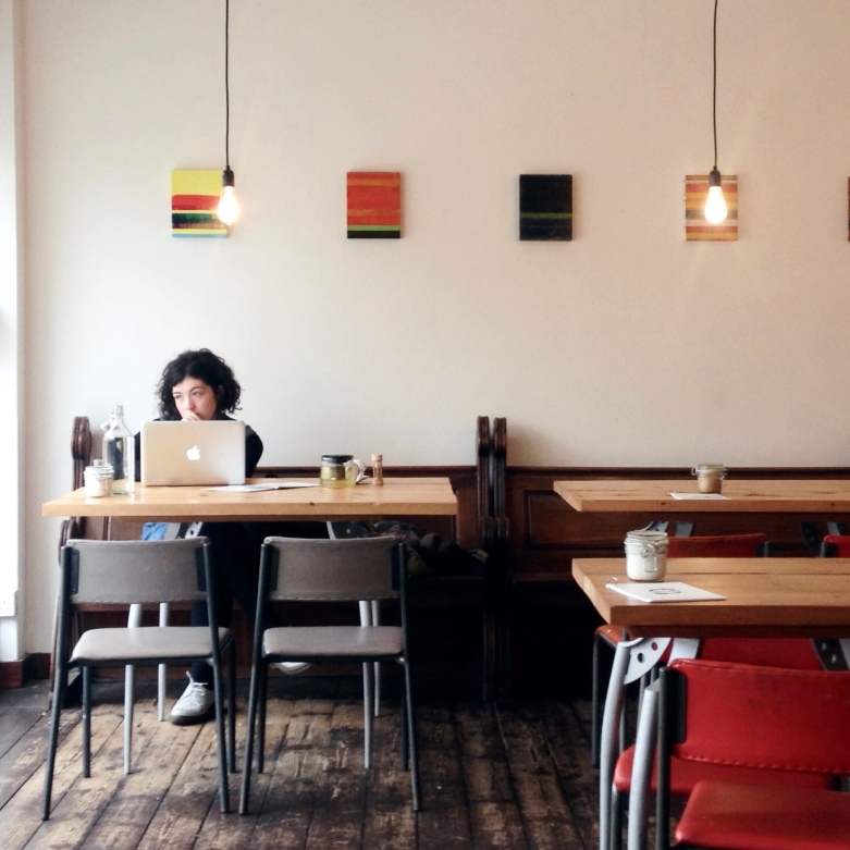Tom Harman's abstract paintings at The Little Man Coffee Co. in Cardiff. Photograph: Rhys Tranter.