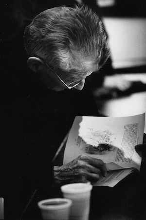 Samuel Beckett looks over an image drawn by his long-term friend, Avigdor Arikha. Photograph: John Minihan.