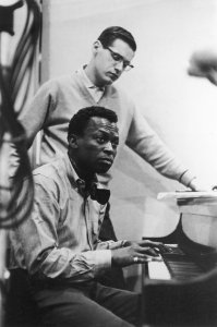 Bill Evans and Miles Davis during the recording sessions for Kind of Blue, 1959.