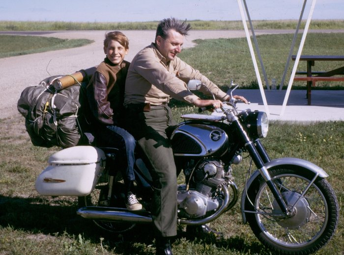 Author Robert Pirsig and his son Chris in 1968