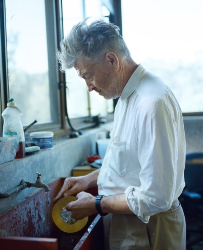 David Lynch at work at his home, the Beverly Johnson House in the Hollywood Hills, CA. Photograph: Patrick Fraser