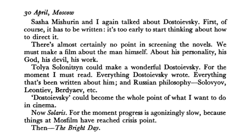 An excerpt from Andrei Tarkovsky's Diaries, dated 30 April 1970
