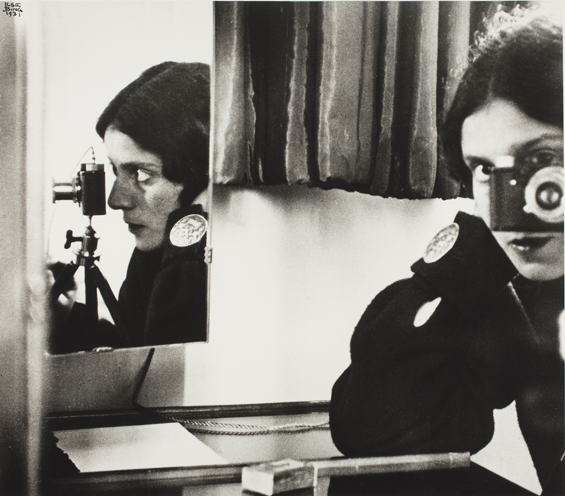 Ilse Bing (American, b. Germany, 1899–1998). Self‑Portrait with Leica, 1931. Gelatin silver print, printed 1985. George Eastman Museum, purchase with funds from the Charina Foundation. Courtesy of the George Eastman Museum. © Estate of Ilse Bing